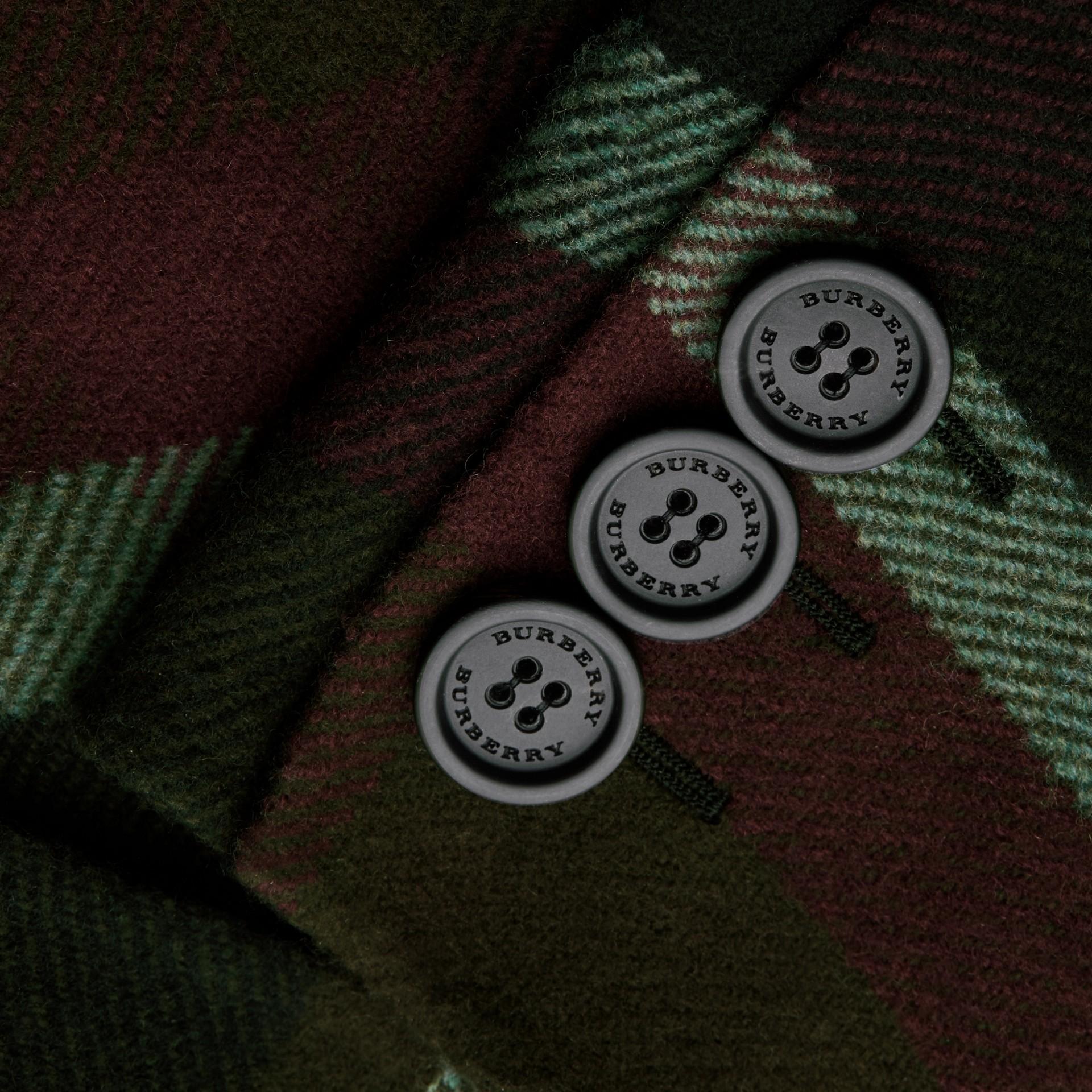 Vert militaire Manteau non doublé à double boutonnage en laine tartan - photo de la galerie 2