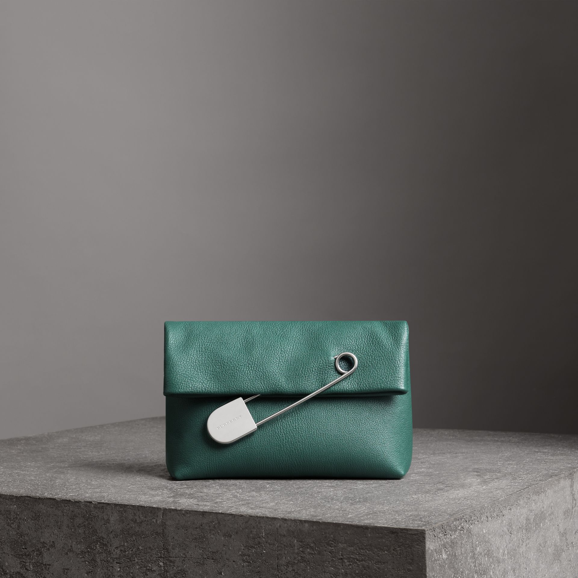 The Medium Pin Clutch in Leather in Sea Green - Women | Burberry - gallery image 0