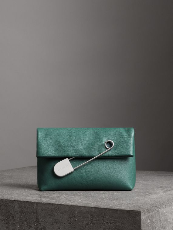 The Medium Pin Clutch in Leather in Sea Green