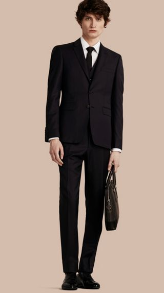 Slim Fit Wool Part-Canvas Three-Piece Suit