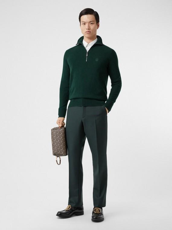 Monogram Motif Cashmere Funnel Neck Sweater in Dark Pine Green