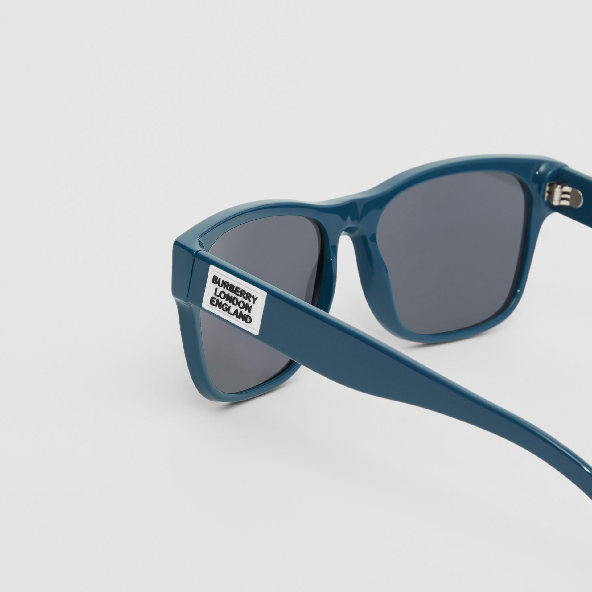 Logo Appliqué Square Frame Sunglasses in Deep Blue - Men | Burberry - gallery image 1