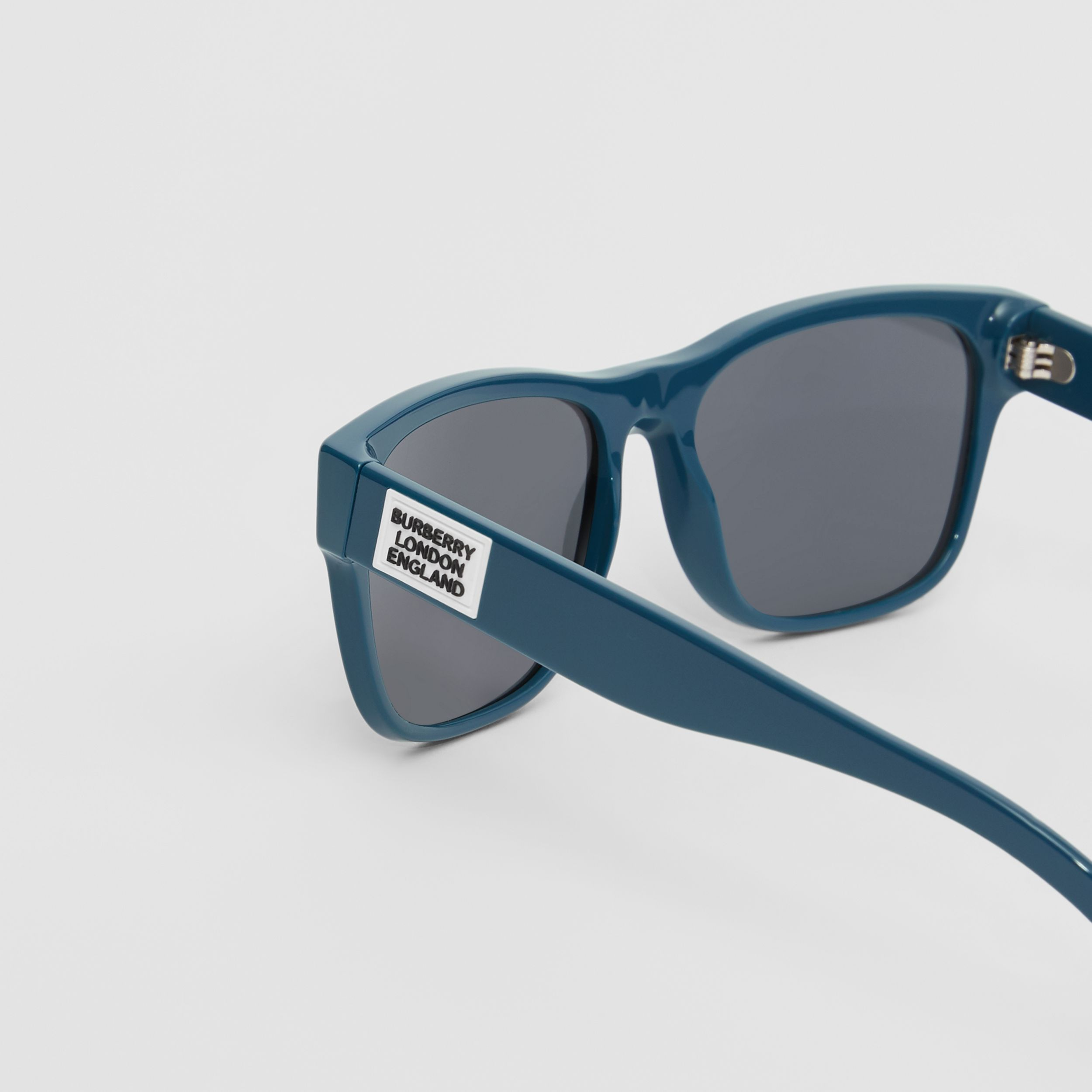 Logo Appliqué Square Frame Sunglasses in Deep Blue - Men | Burberry United States - 2