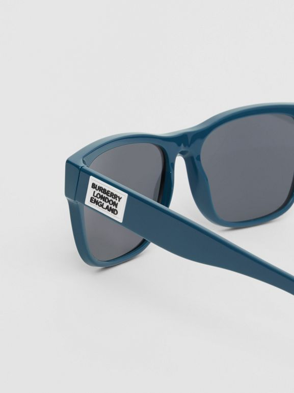 Logo Appliqué Square Frame Sunglasses in Deep Blue - Men | Burberry Australia - cell image 1