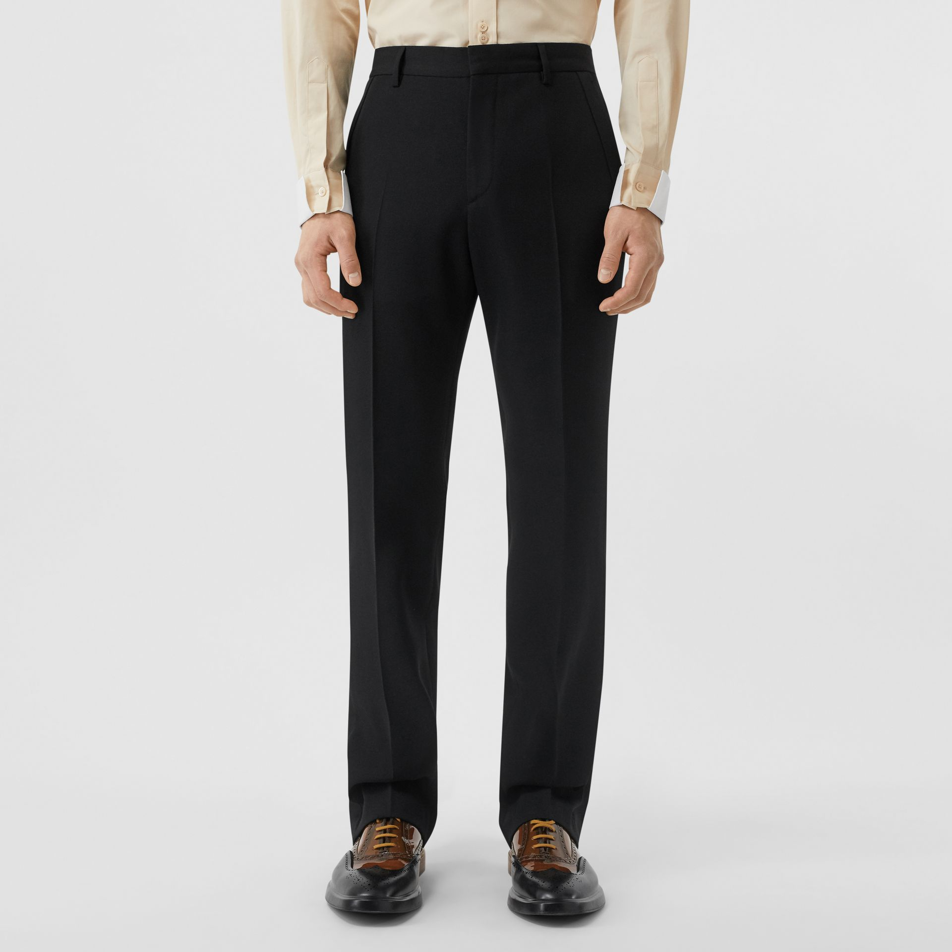 Classic Fit Wool Tailored Trousers in Black - Men | Burberry - gallery image 4