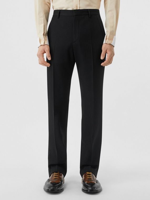 Classic Fit Wool Tailored Trousers in Black