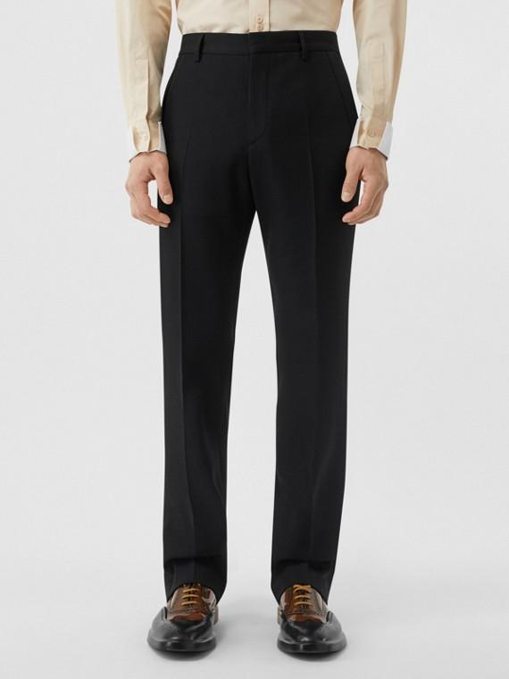 Pantalon de costume classique en laine (Noir)