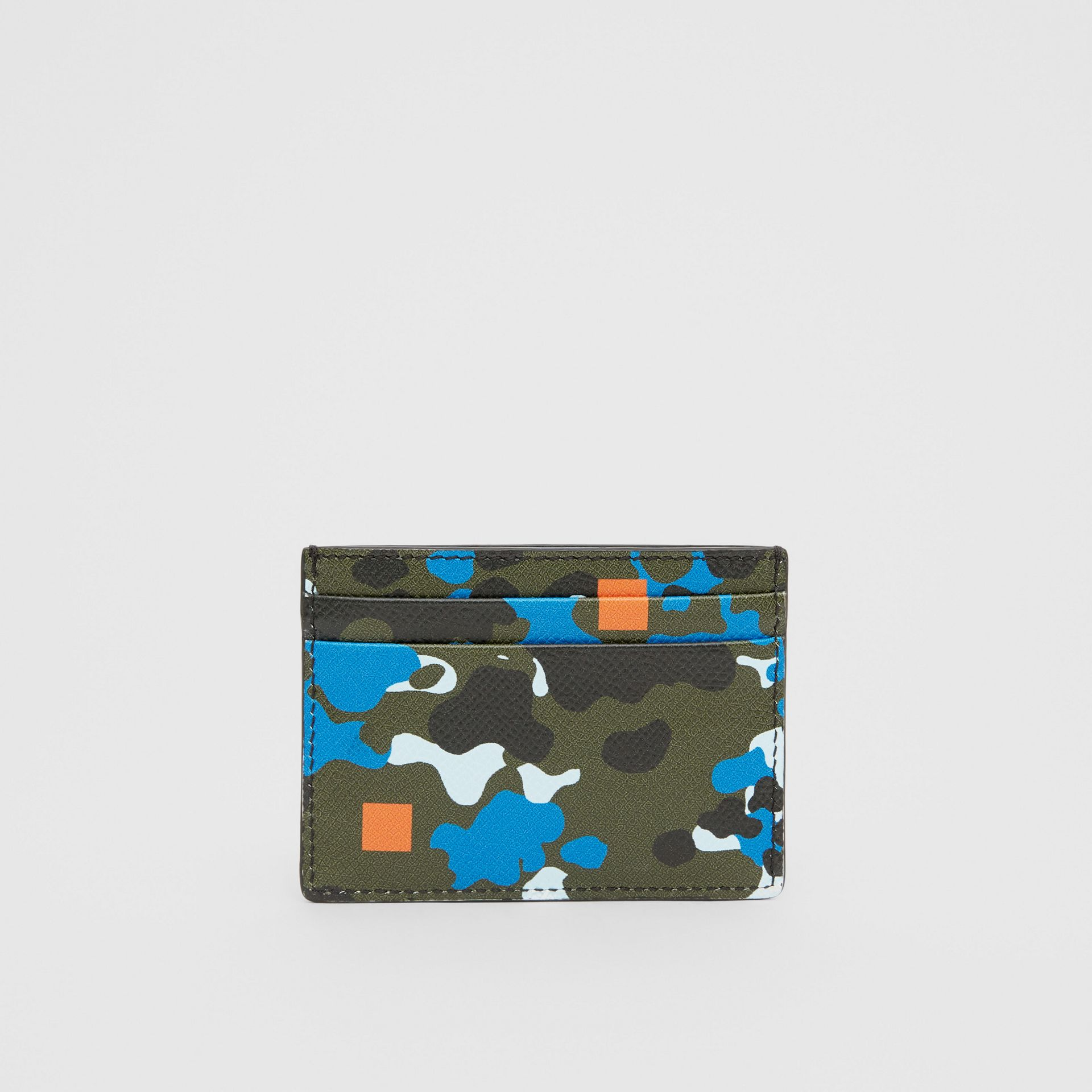 Camouflage Print Grainy Leather Card Case in Blue | Burberry United Kingdom - gallery image 4