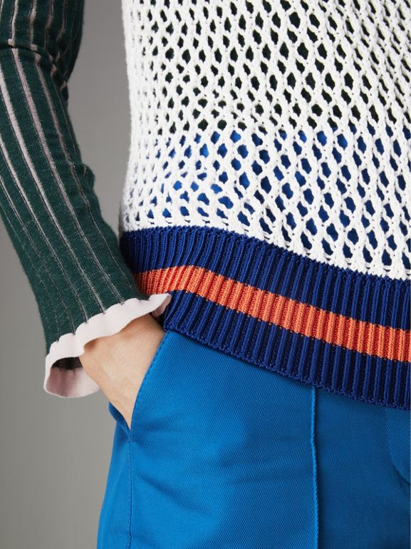 Sleeveless Mesh Knit Turtleneck Top in White - Women | Burberry United Kingdom - cell image 1