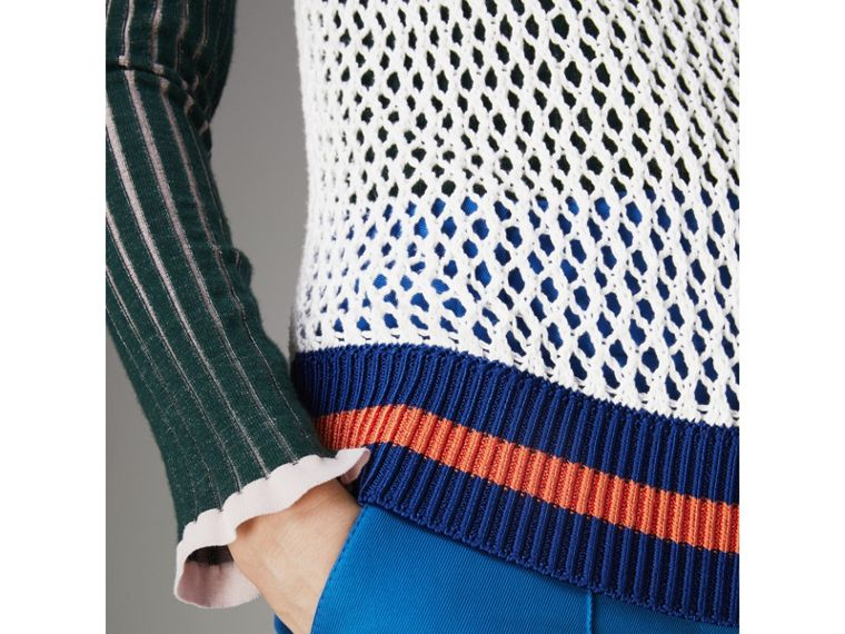 Sleeveless Mesh Knit Turtleneck Top in White - Women | Burberry - cell image 1