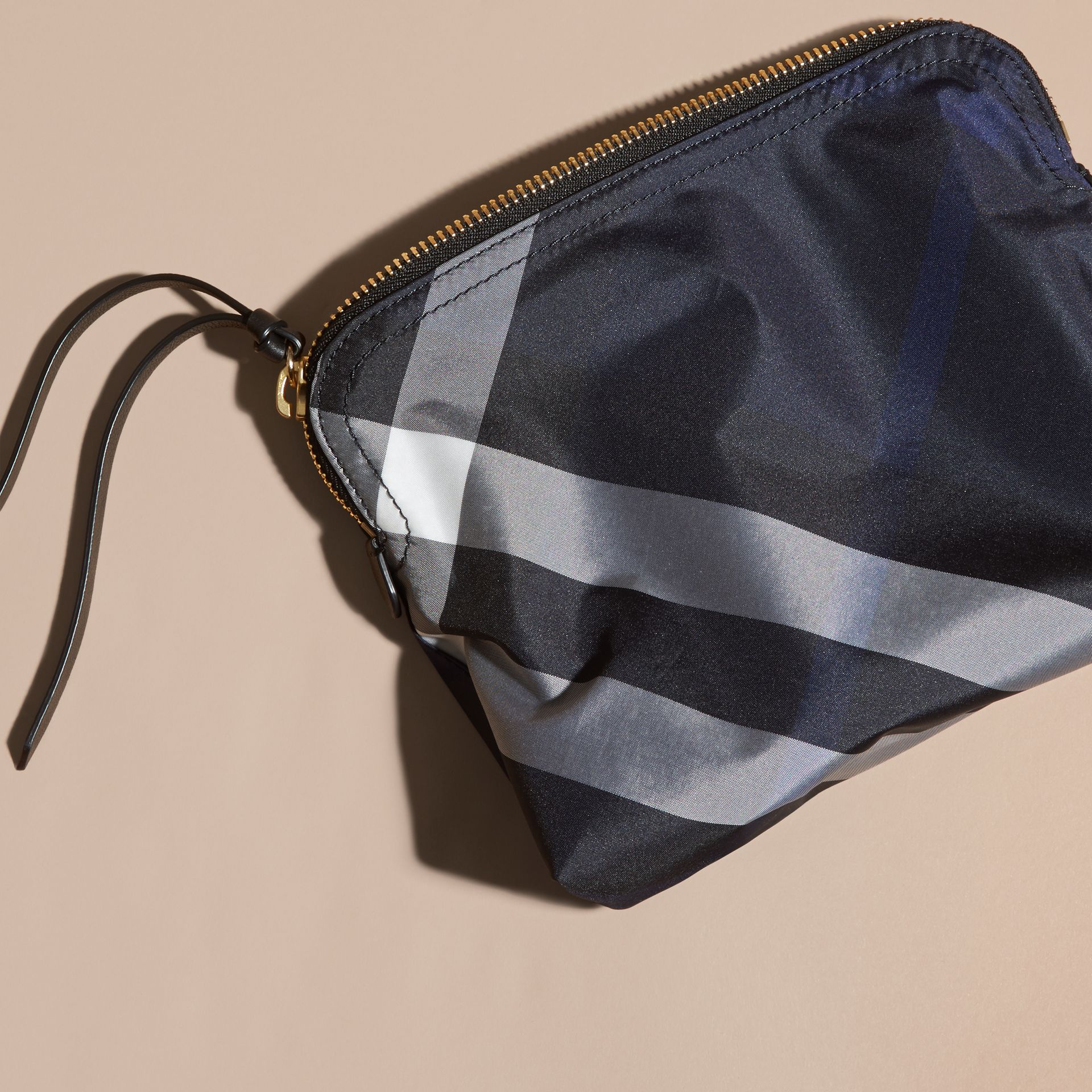 Large Zip-top Check Pouch in Indigo Blue - gallery image 4