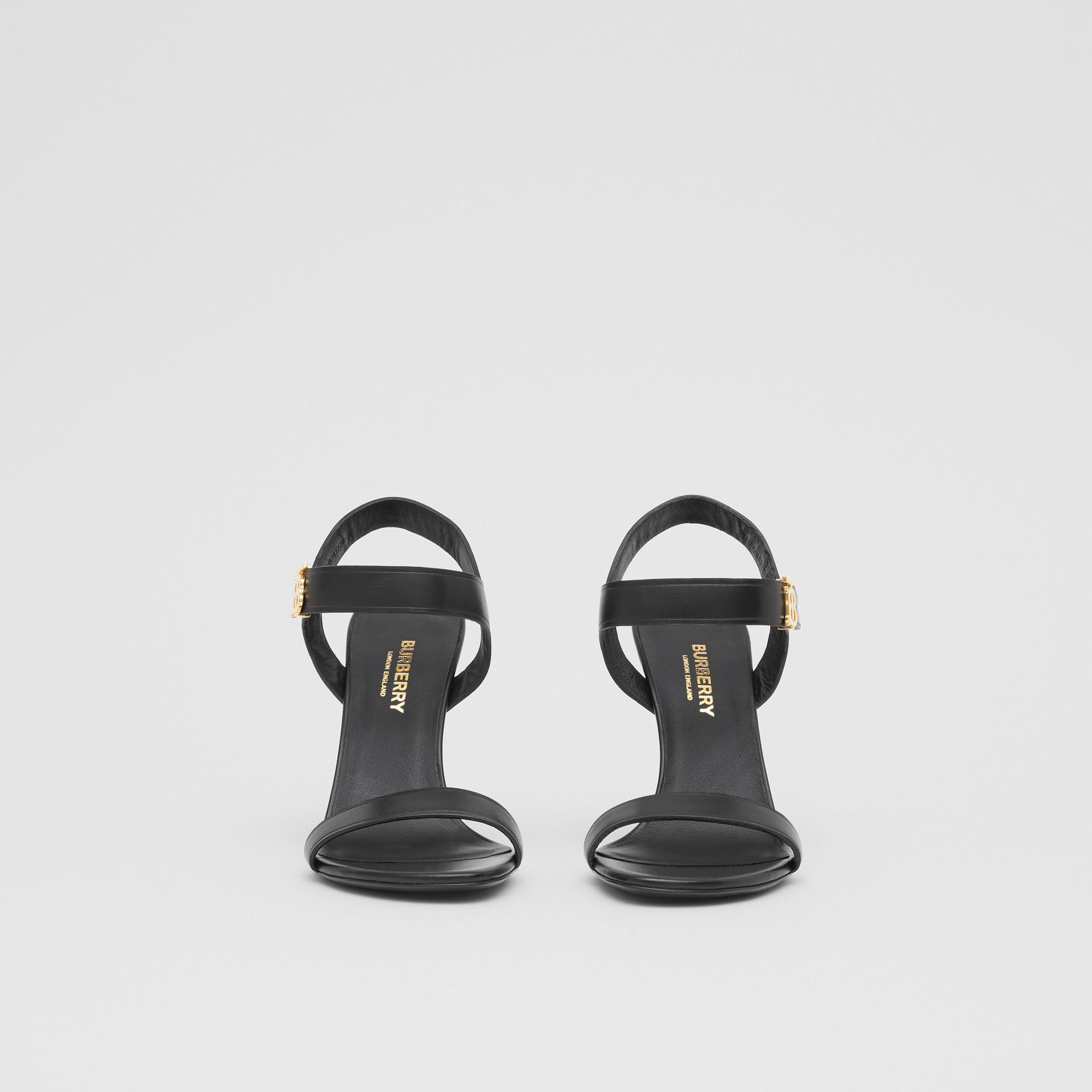 Monogram Motif Leather Sandals in Black - Women | Burberry United Kingdom - gallery image 3