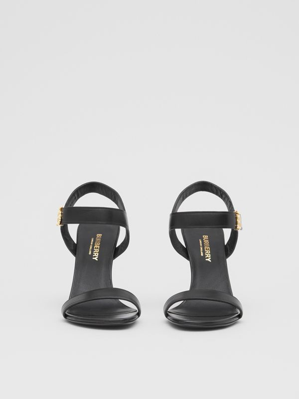 Monogram Motif Leather Sandals in Black - Women | Burberry United Kingdom - cell image 3