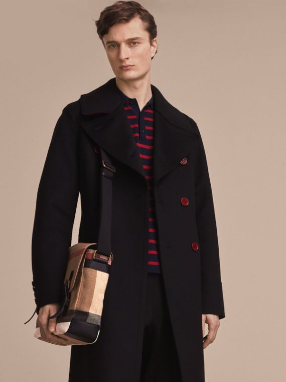 Grand sac Messenger en toile Canvas check et cuir (Noir) - Homme | Burberry - cell image 2