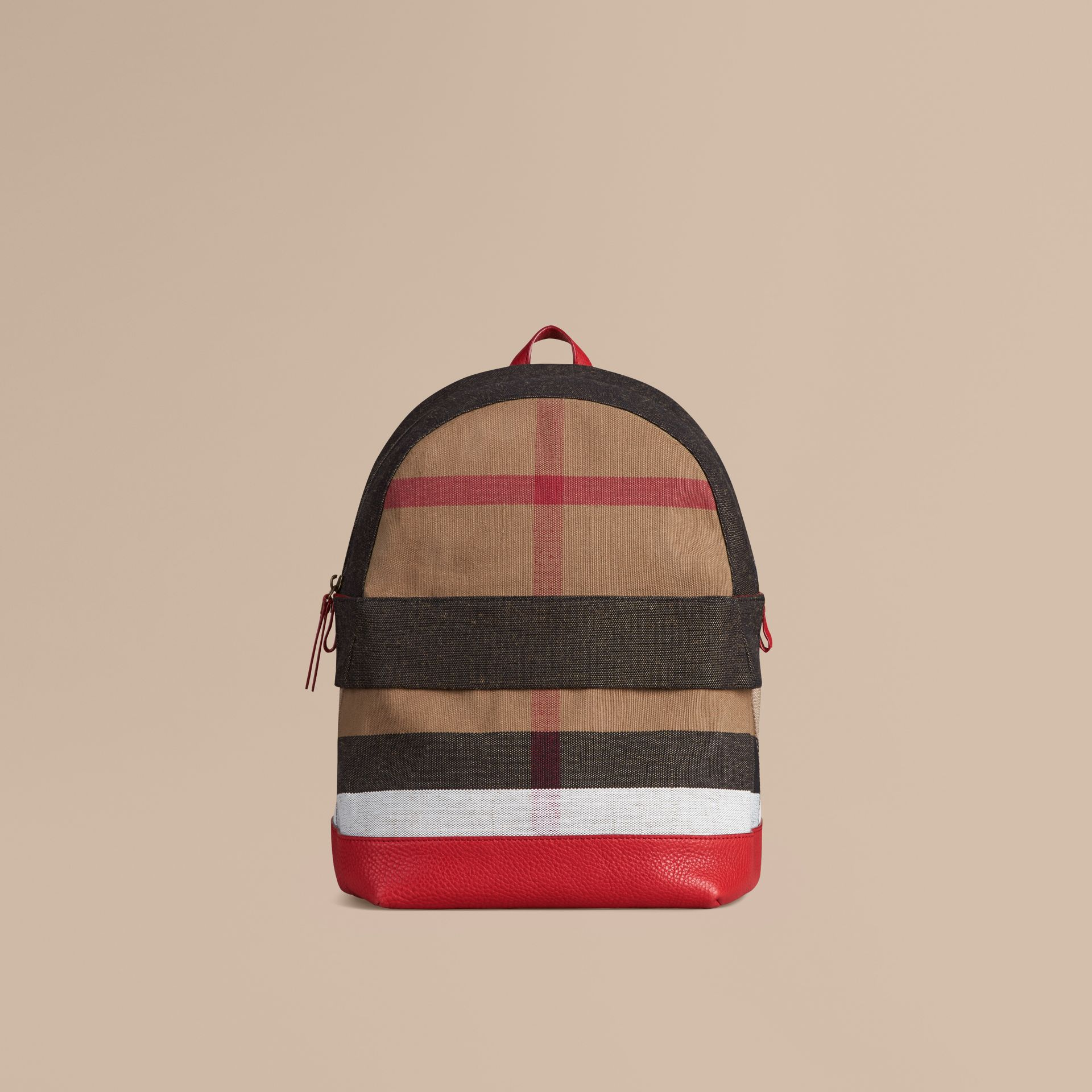 Bright military red Canvas Check and Leather Backpack - gallery image 1