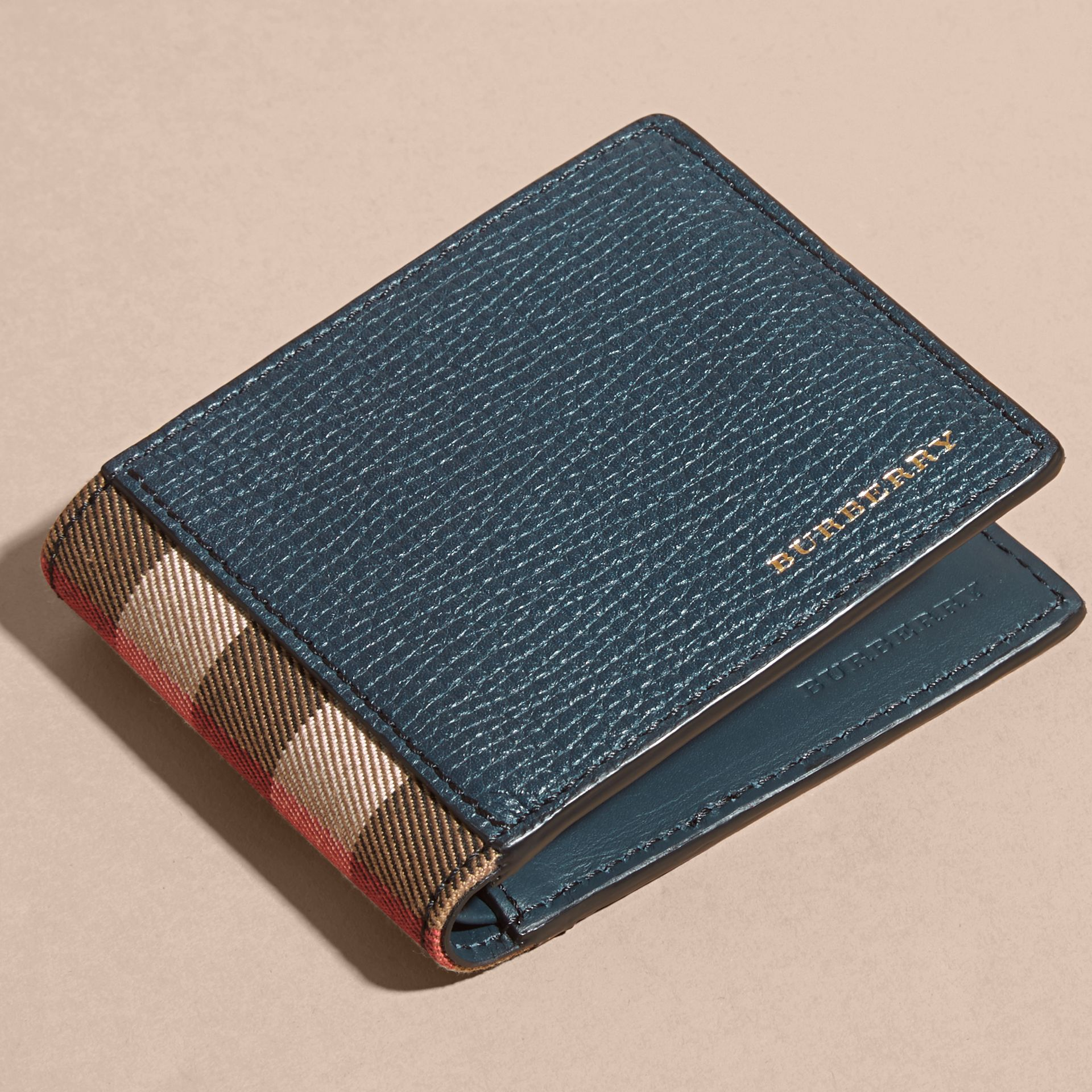 Grainy Leather and House Check Folding Wallet Storm Blue - gallery image 6