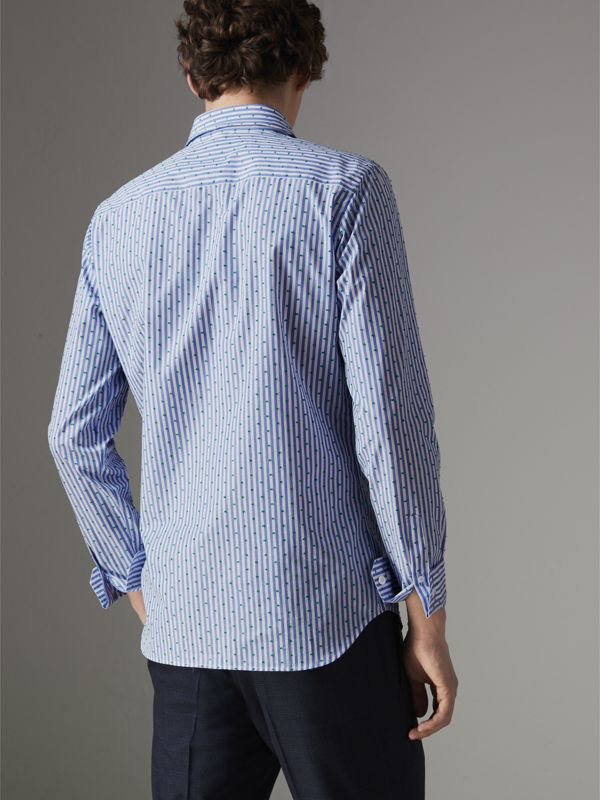 Slim Fit Fil Coupé Striped Cotton Shirt in Mid Blue - Men | Burberry - cell image 2