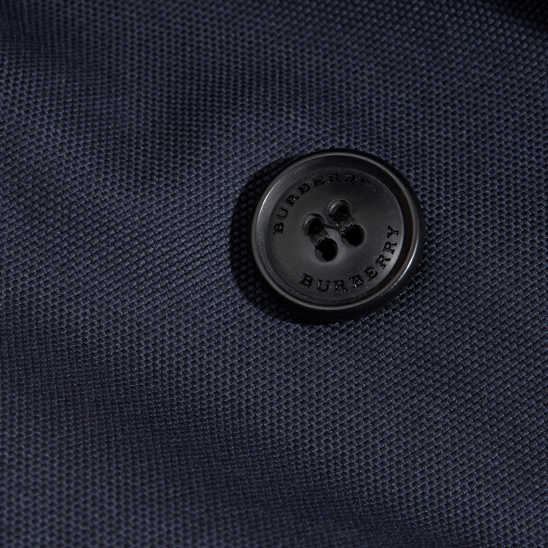 Leather Trim Cotton Pea Coat - gallery image 2