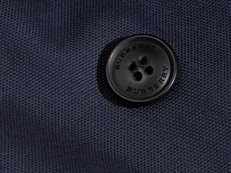Leather Trim Cotton Pea Coat - cell image 1