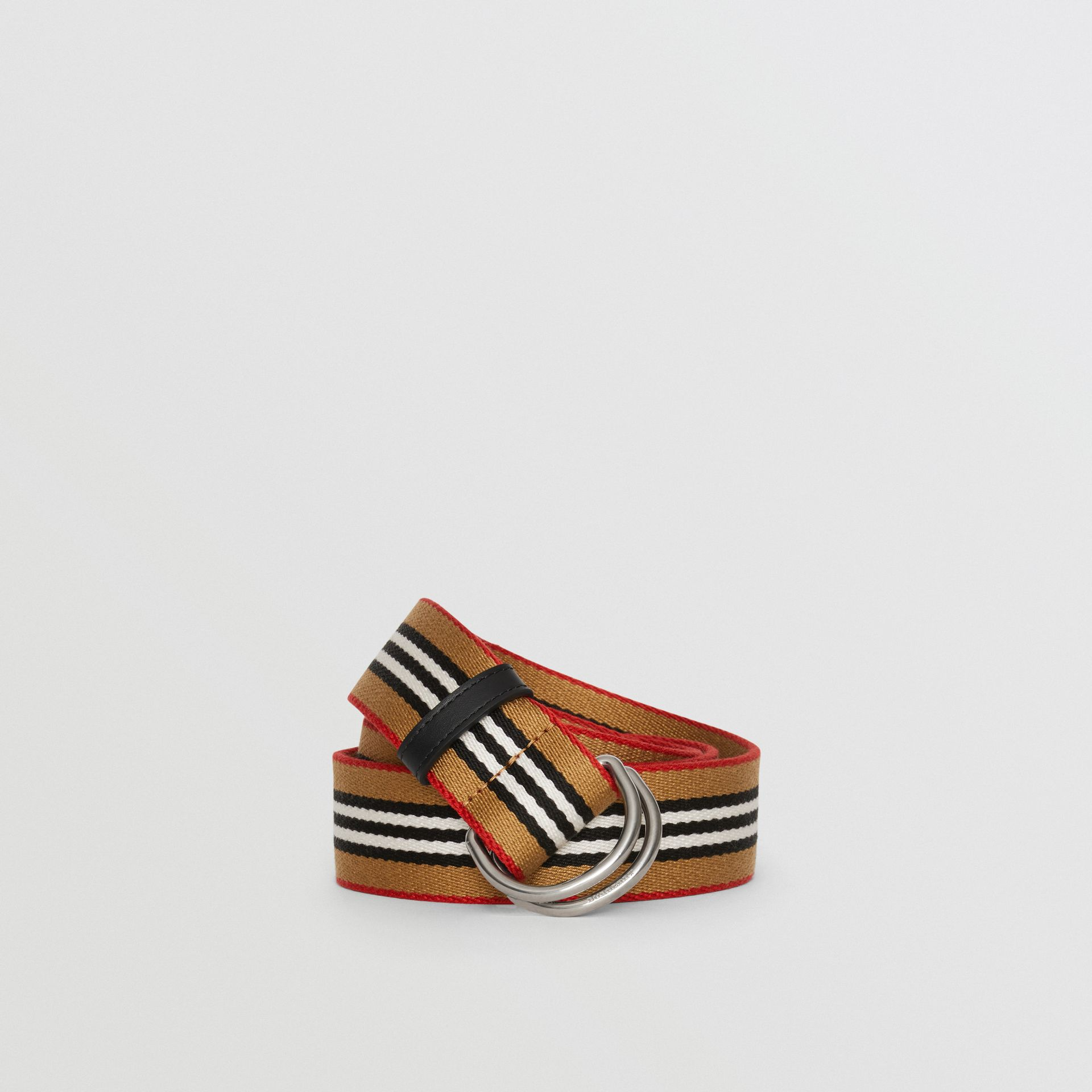 Heritage Stripe Double D-ring Belt in Vintage Check - Women | Burberry - gallery image 0