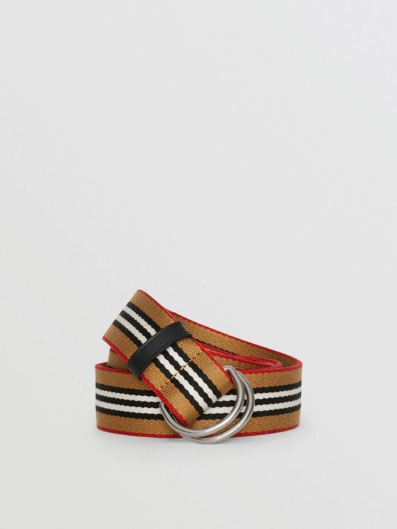 Heritage Stripe Double D-ring Belt in Vintage Check