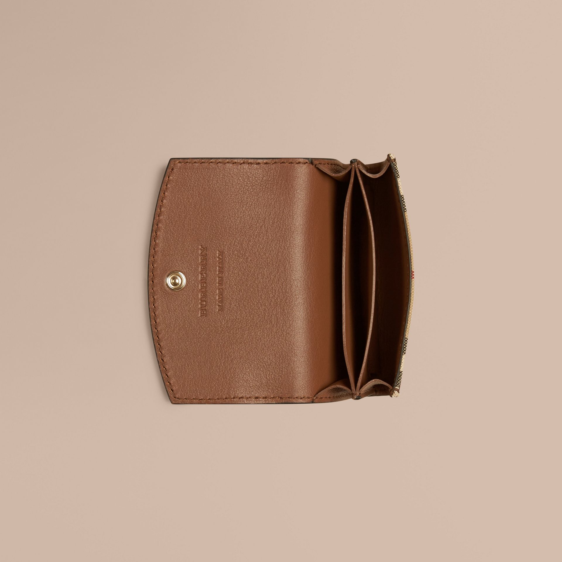 Horseferry Check and Leather Card Case Tan - gallery image 4