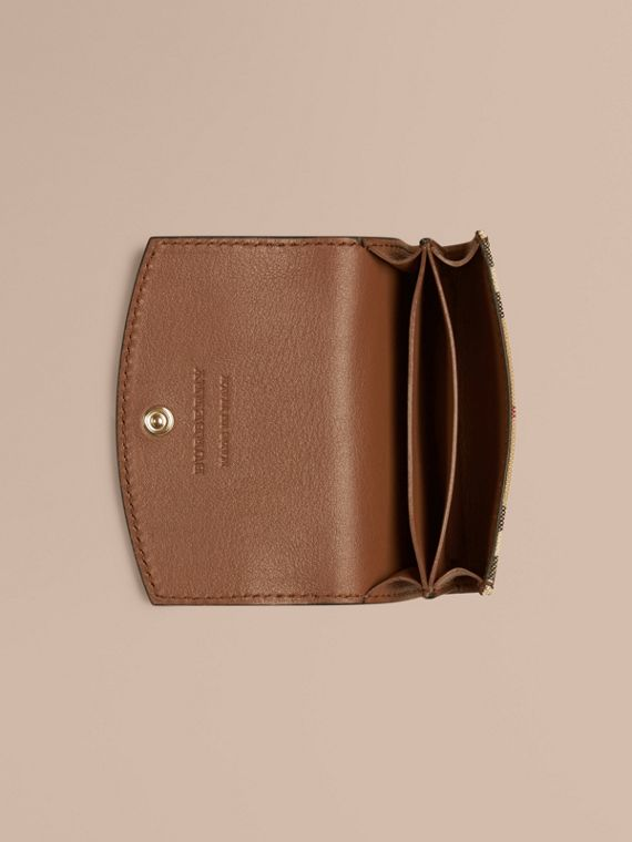 Tan Horseferry Check and Leather Card Case Tan - cell image 3