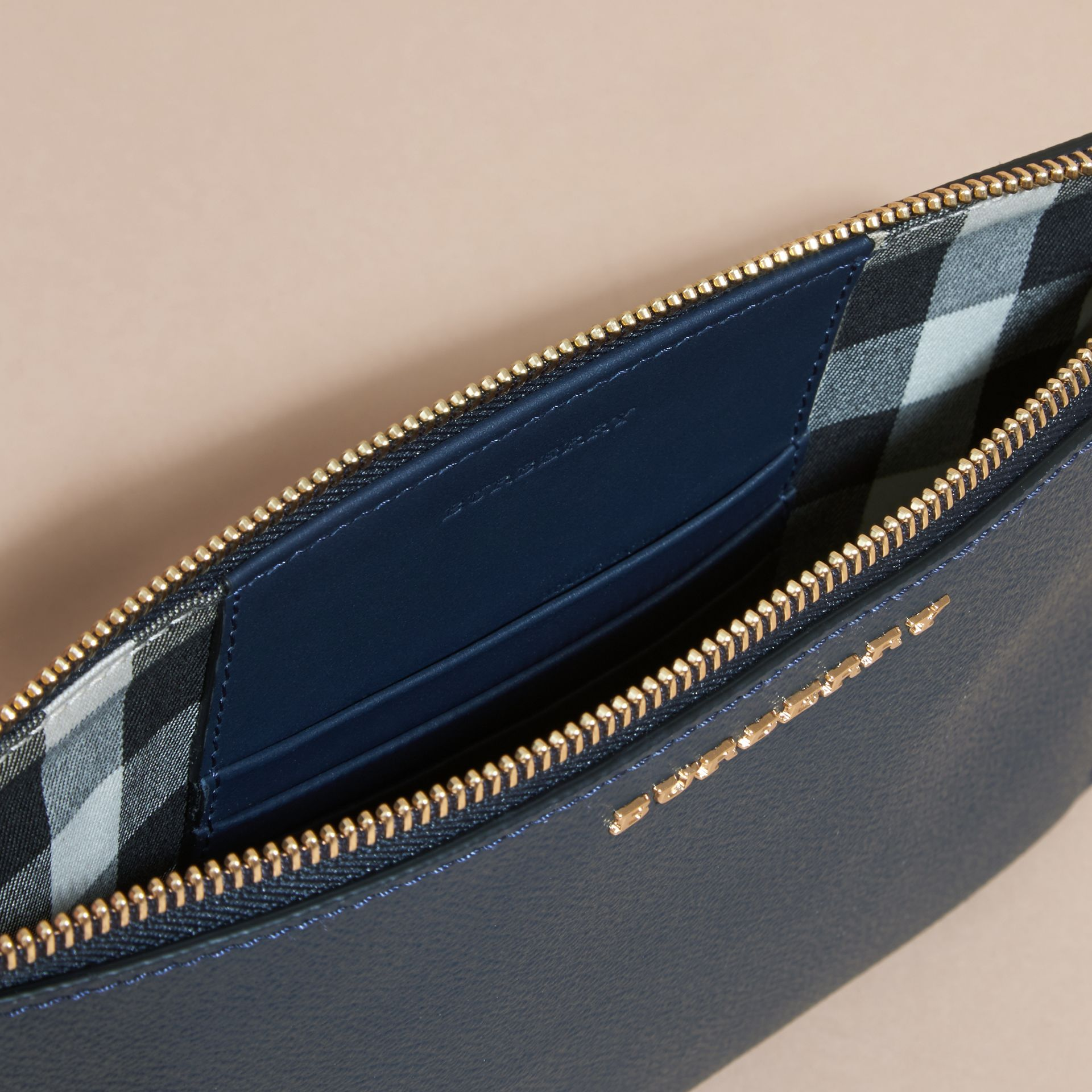 Leather Clutch Bag with Check Lining Blue Carbon - gallery image 6