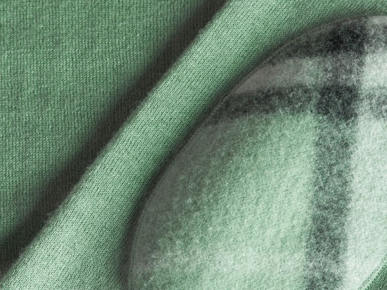 Eucalyptus green Check Trim Cashmere Cotton Sweater Eucalyptus Green - cell image 1