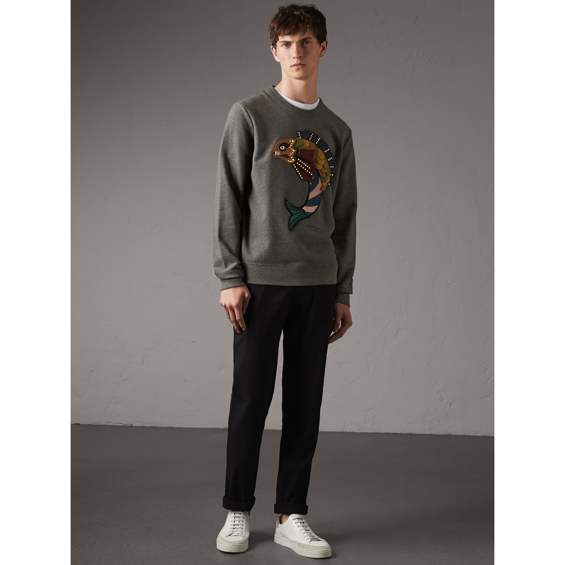 Beasts Appliqué Cotton Sweatshirt in Mid Grey Melange - Men | Burberry - gallery image 1