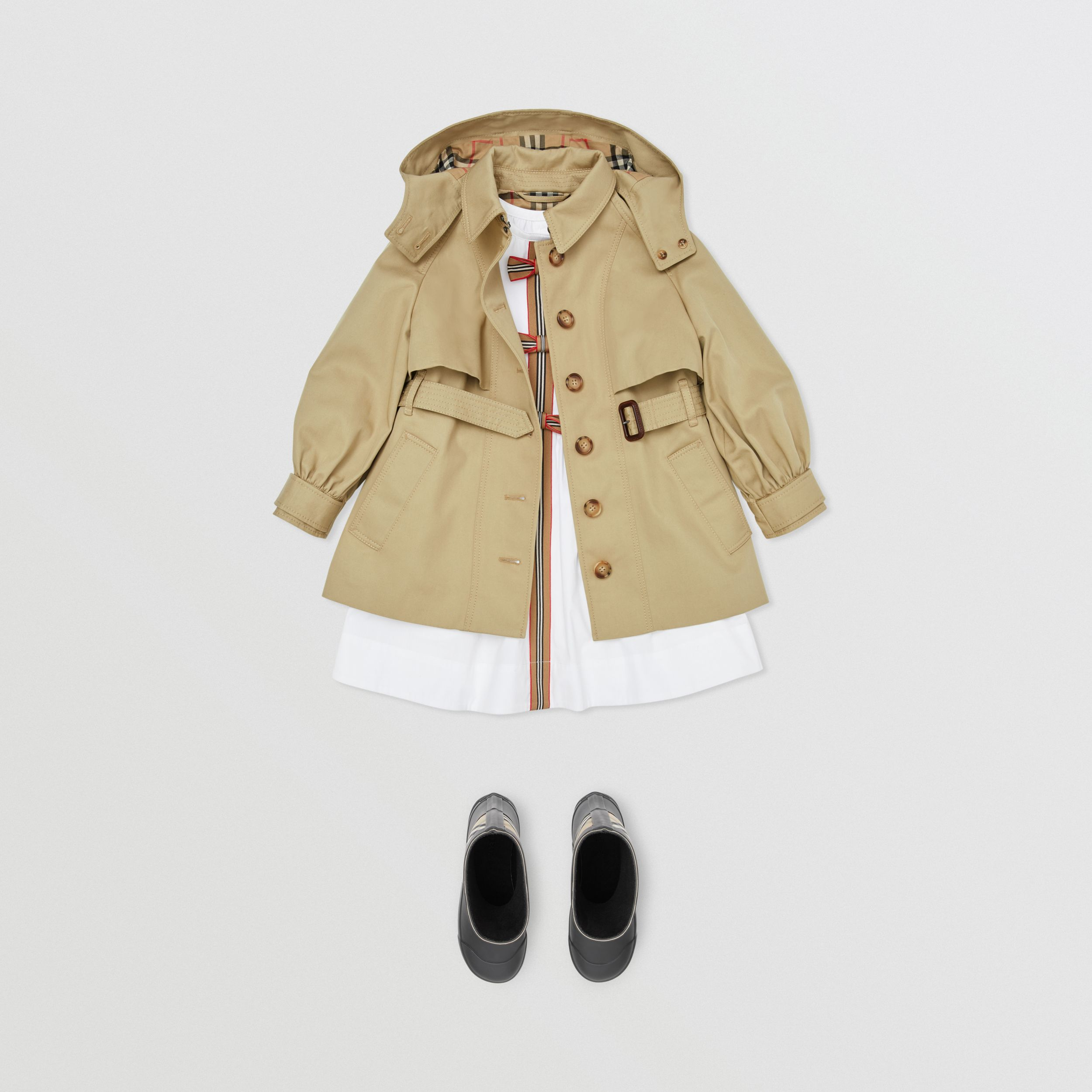 Detachable Hood Cotton Twill Trench Coat in Honey | Burberry - 3