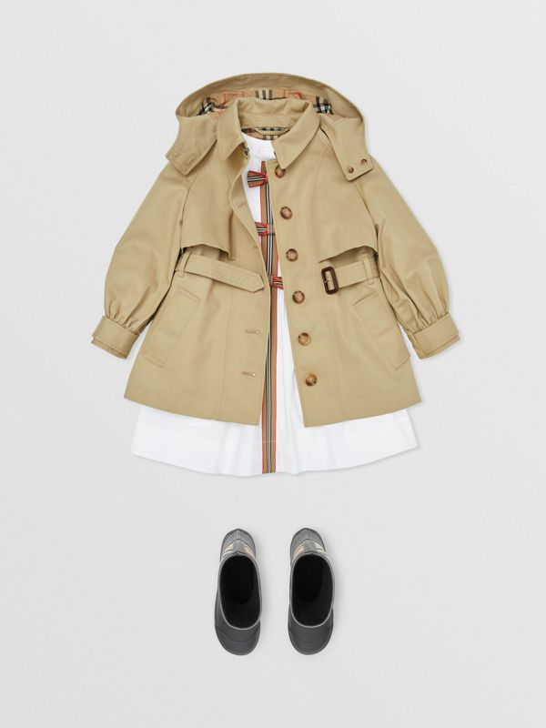 Detachable Hood Cotton Twill Trench Coat in Honey | Burberry - cell image 2