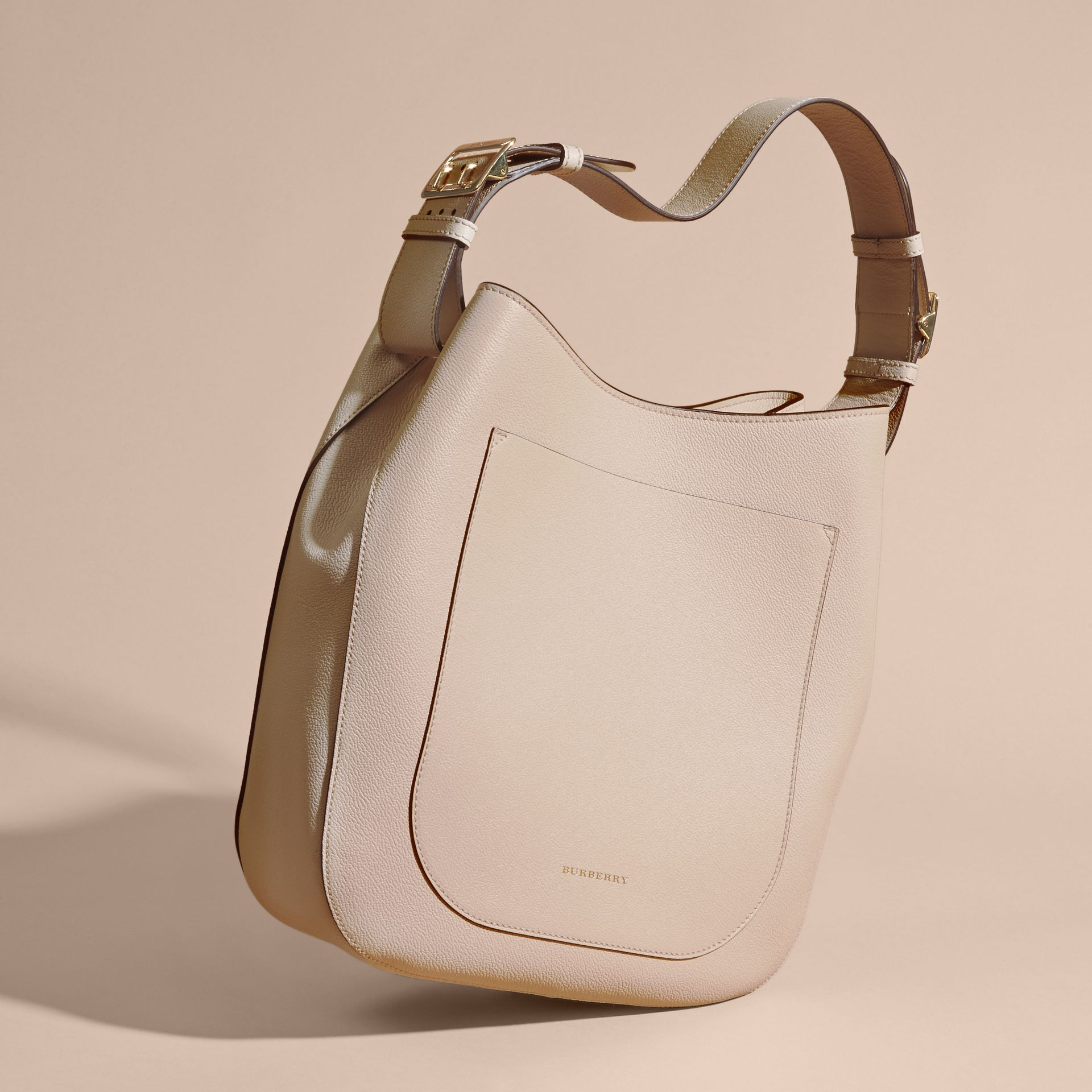 Limestone Textured Leather Shoulder Bag Limestone - gallery image 7