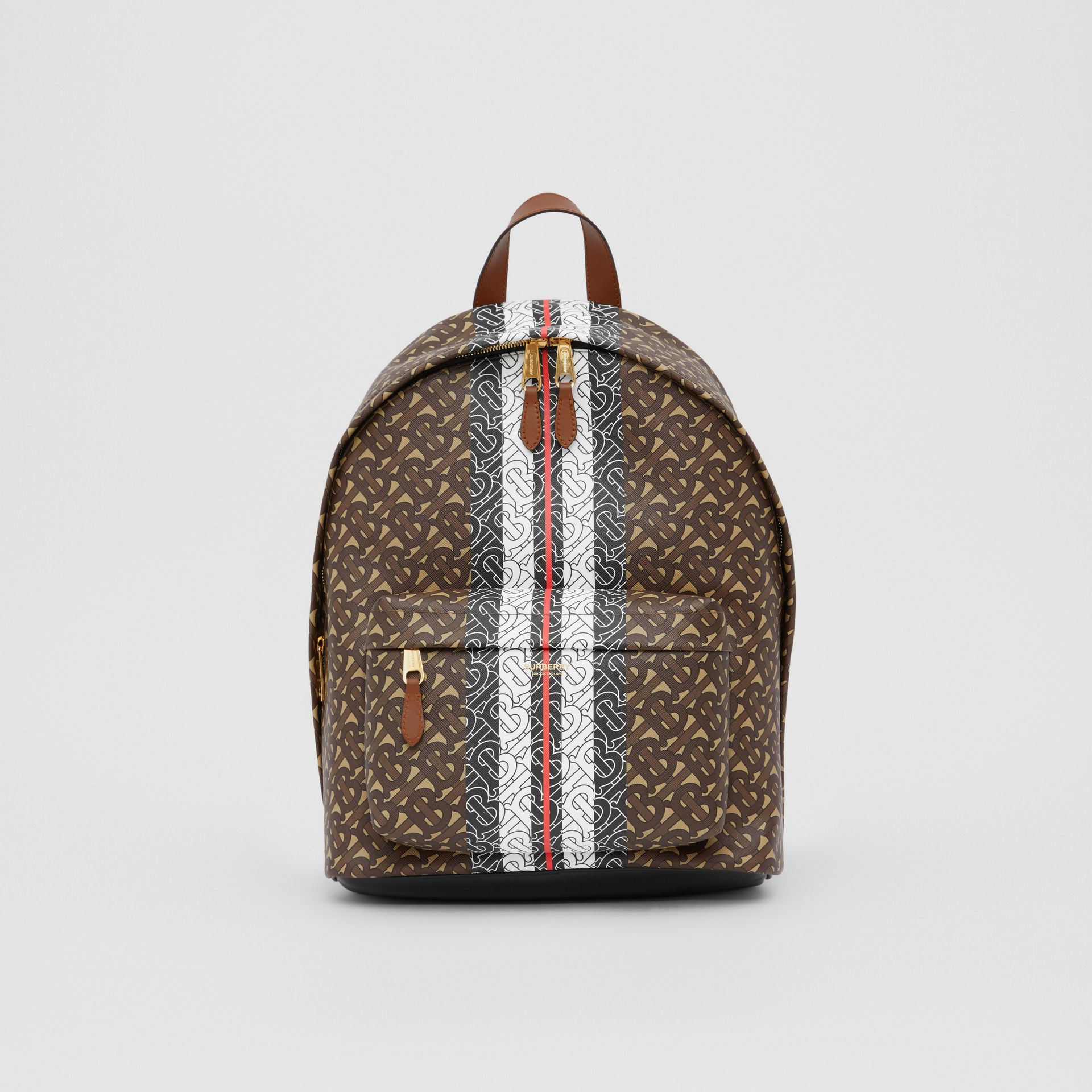 Monogram Stripe Print E-canvas Backpack in Bridle Brown | Burberry - gallery image 0
