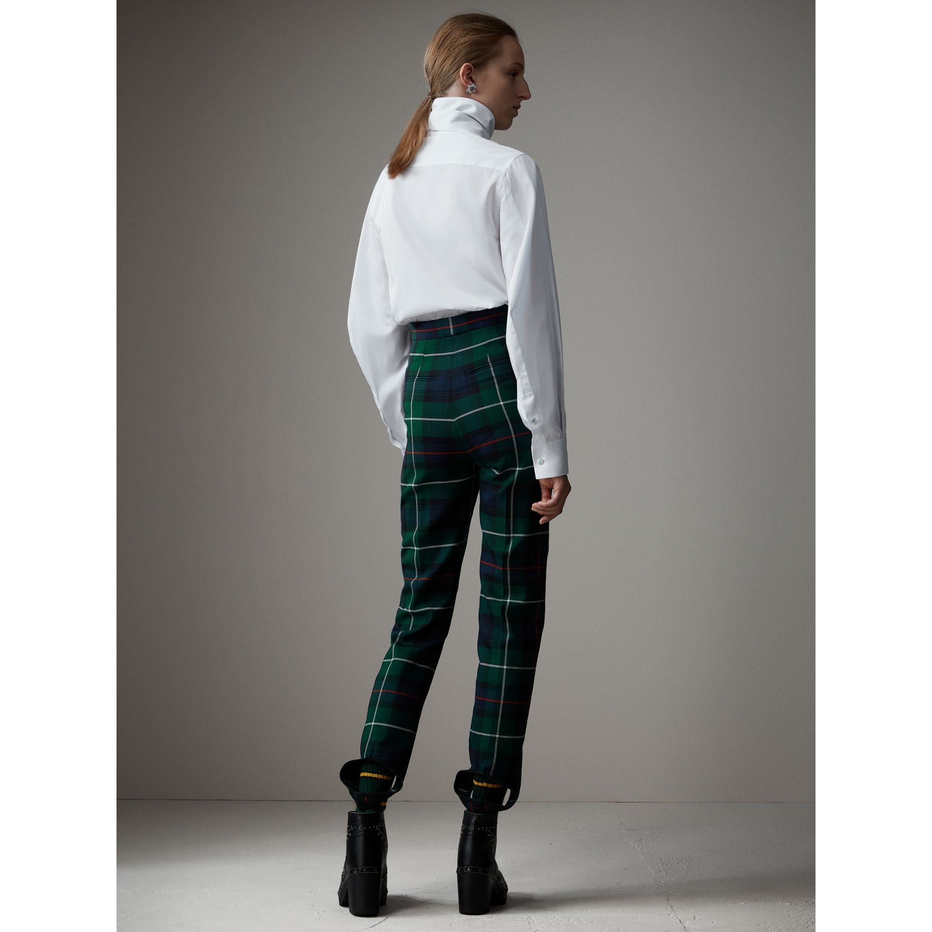 Tartan Wool High-waisted Stirrup Trousers in Forest Green - Women | Burberry - gallery image 2
