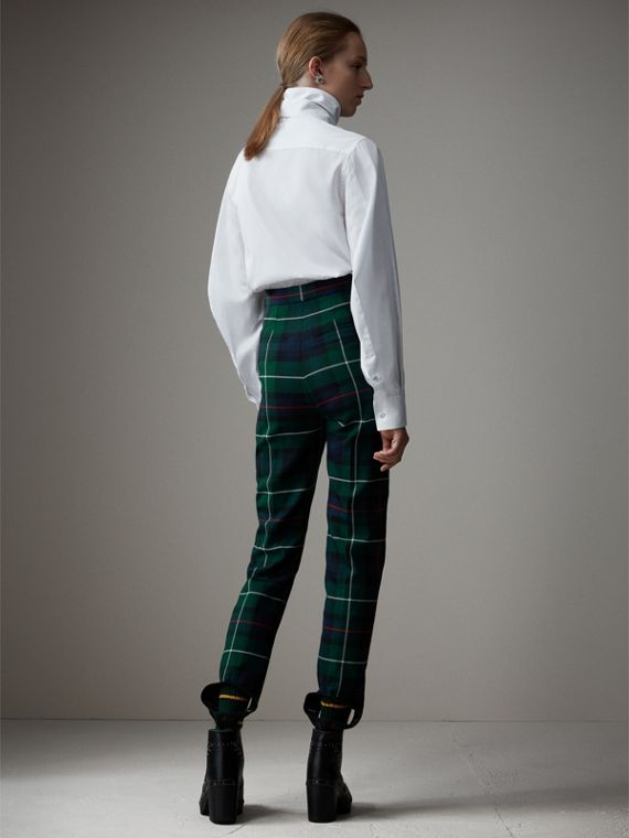 Tartan Wool High-waisted Stirrup Trousers in Forest Green - Women | Burberry Singapore - cell image 2
