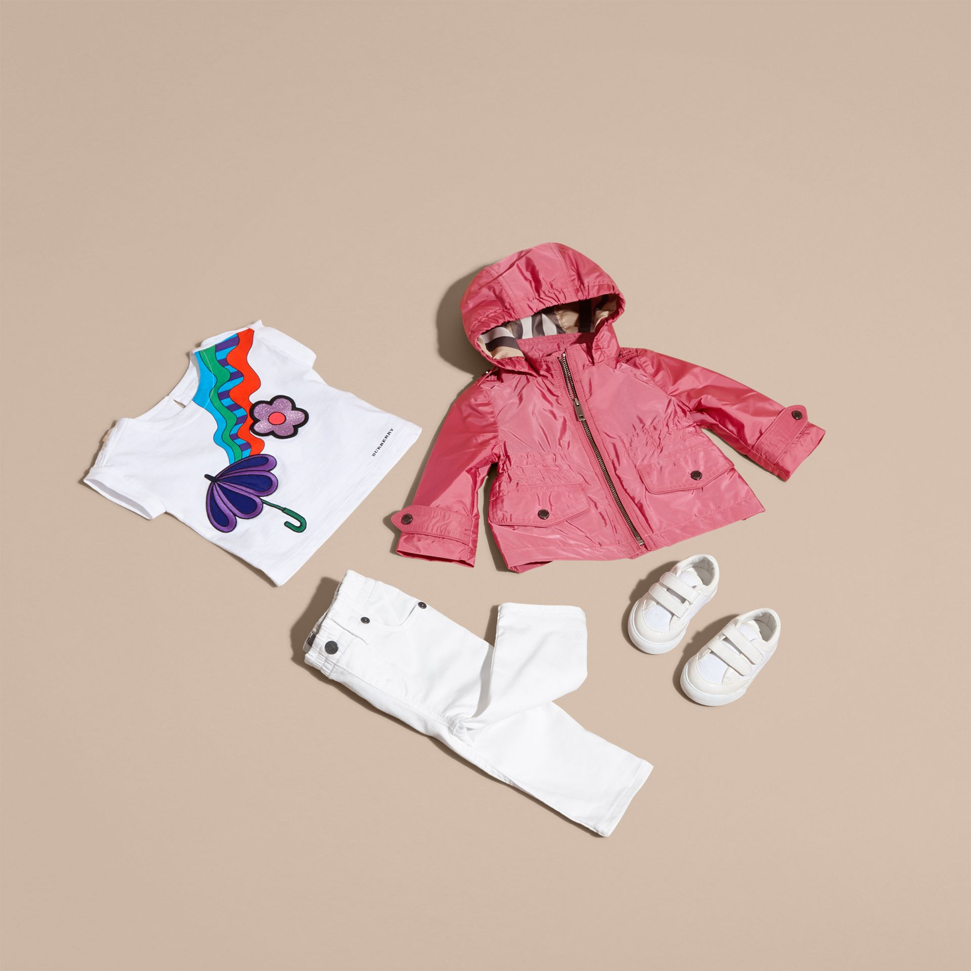 Hooded Packaway Technical Jacket in Pink Azalea - gallery image 5