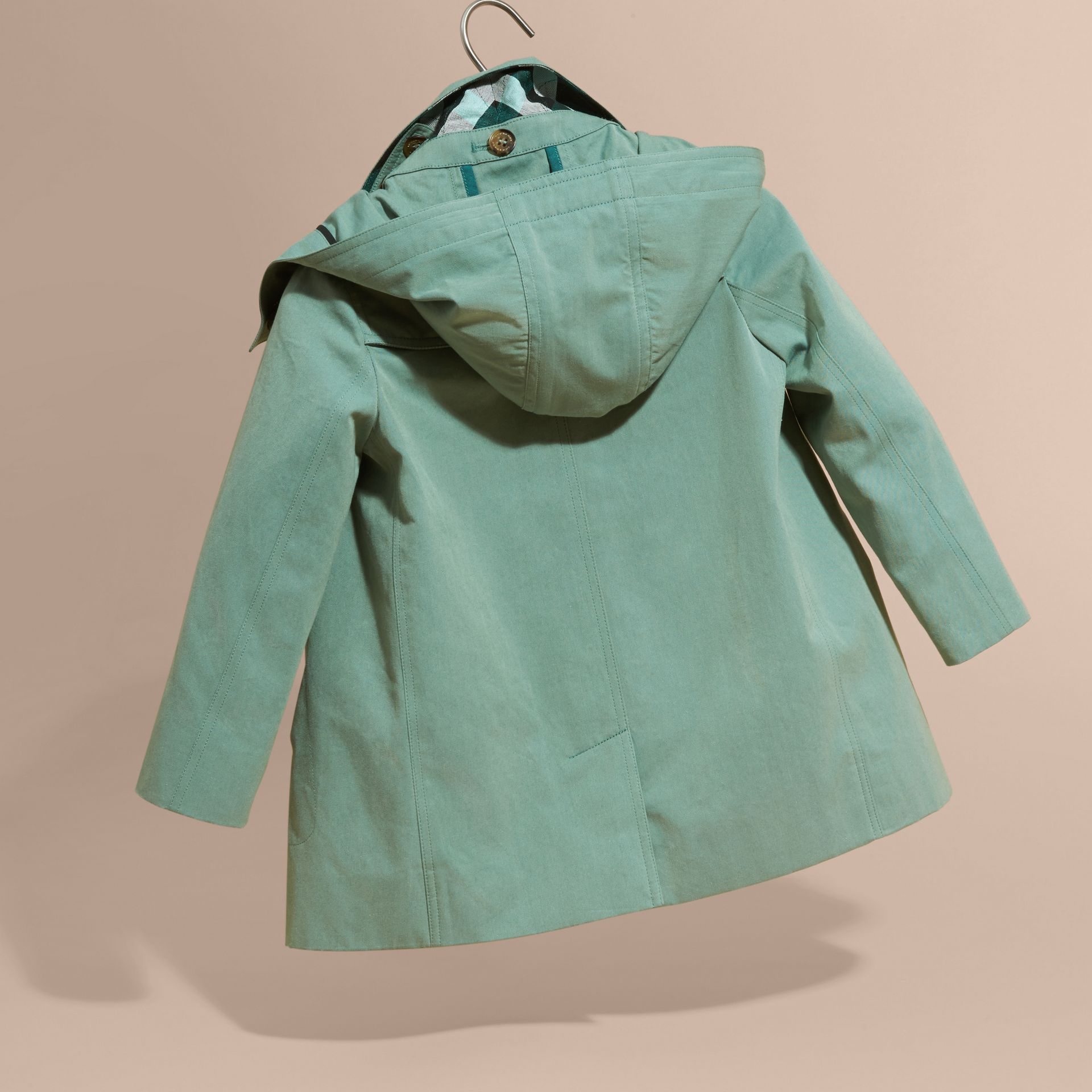 Hooded Tropical Gabardine A-line Trench Coat - gallery image 4