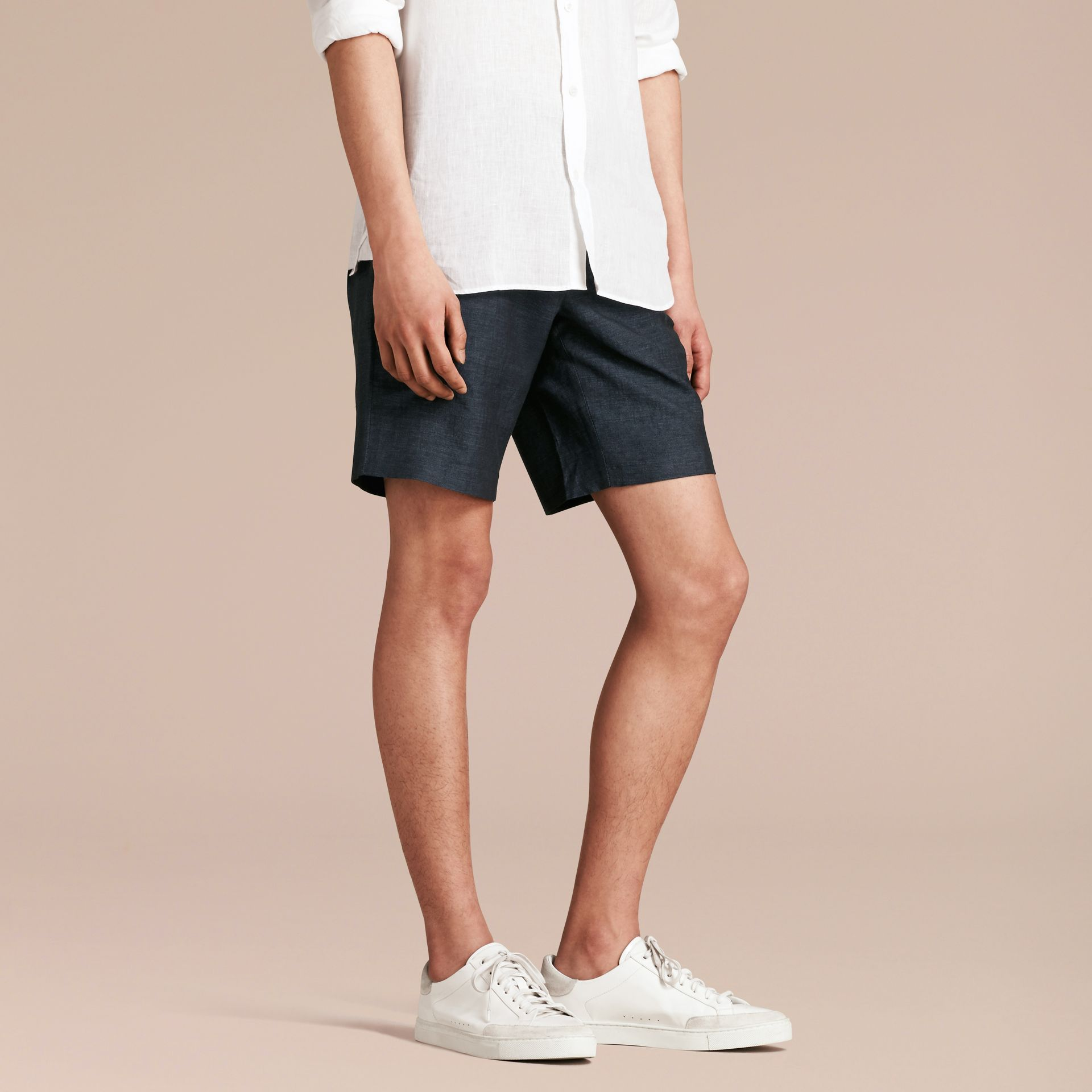 Navy Linen Cotton Tailored Shorts - gallery image 7