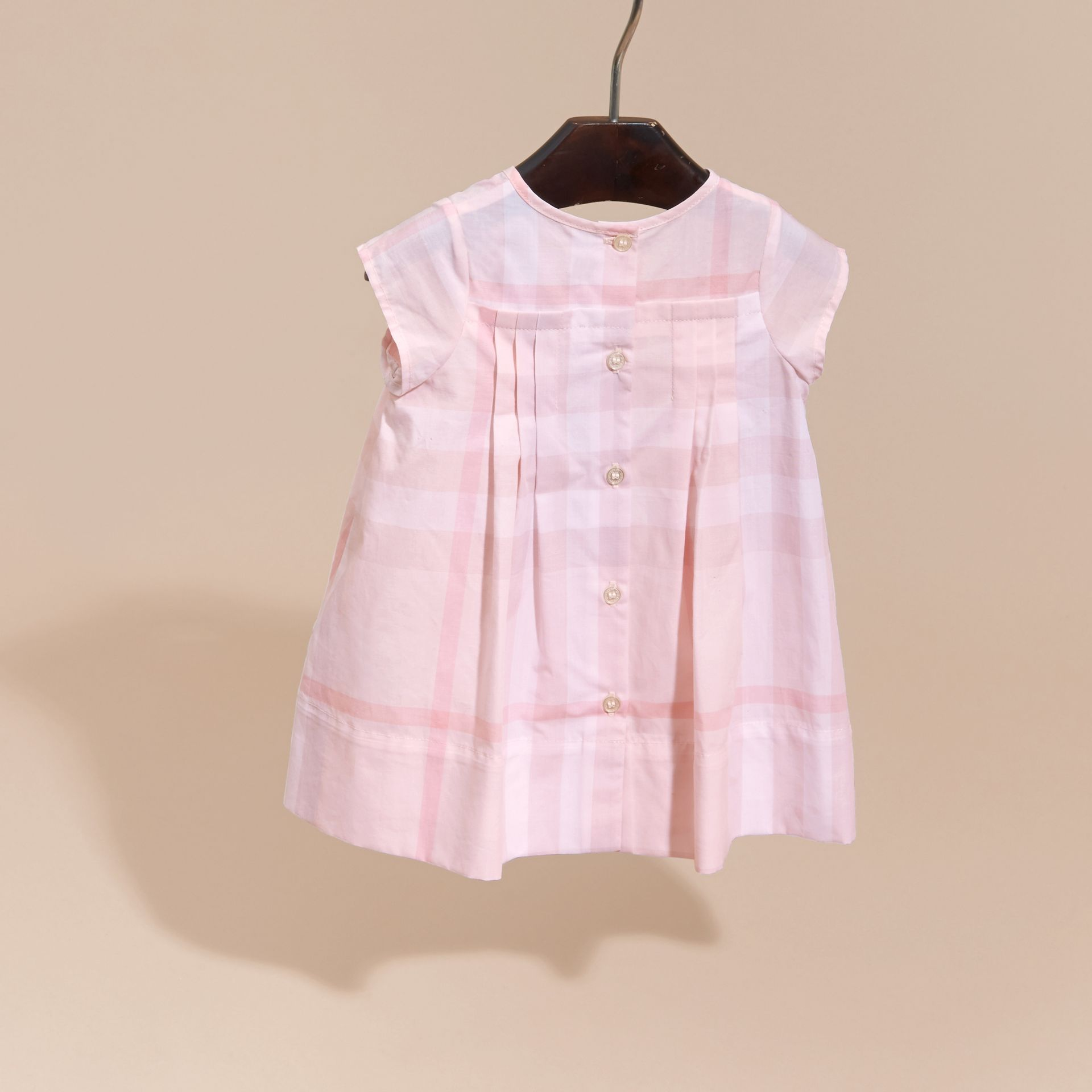 Check Cotton Pleat Dress in Ice Pink | Burberry - gallery image 4