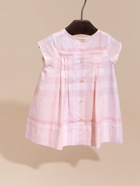 Check Cotton Pleat Dress Ice Pink - cell image 3