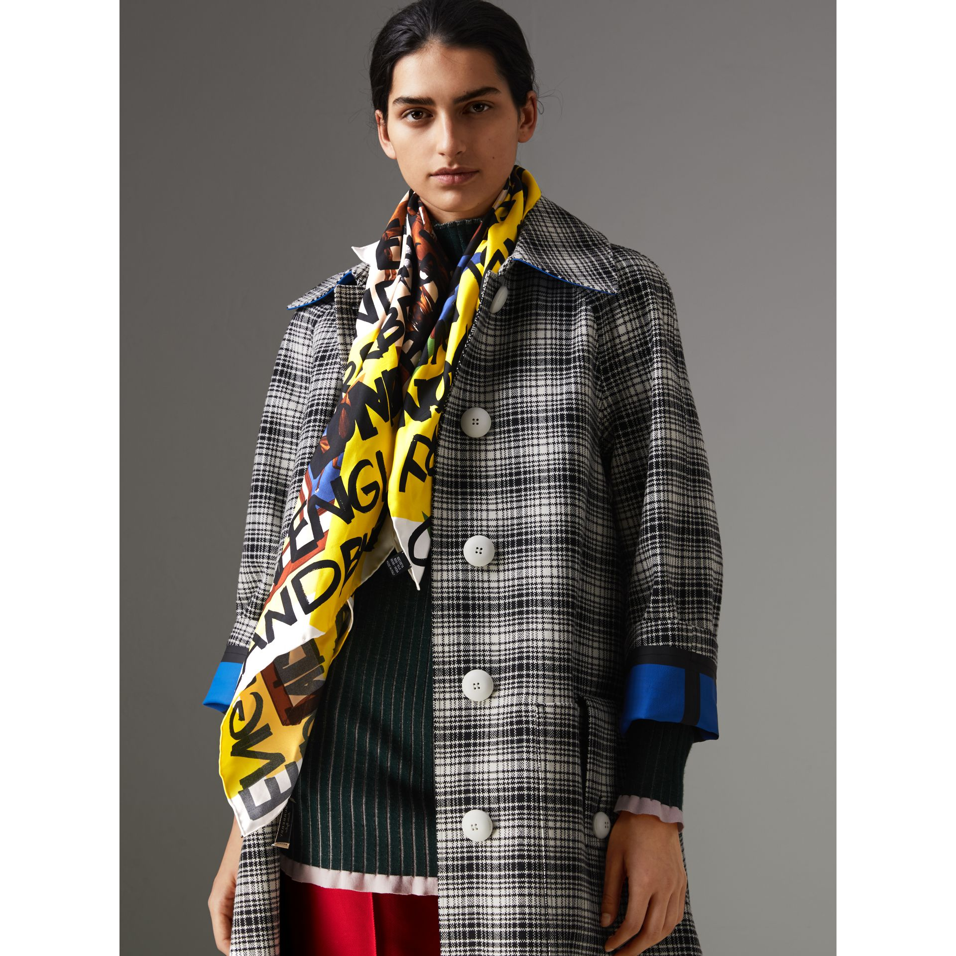 Graffiti Archive Scarf Print Silk Square Scarf in Bright Yellow | Burberry Singapore - gallery image 4