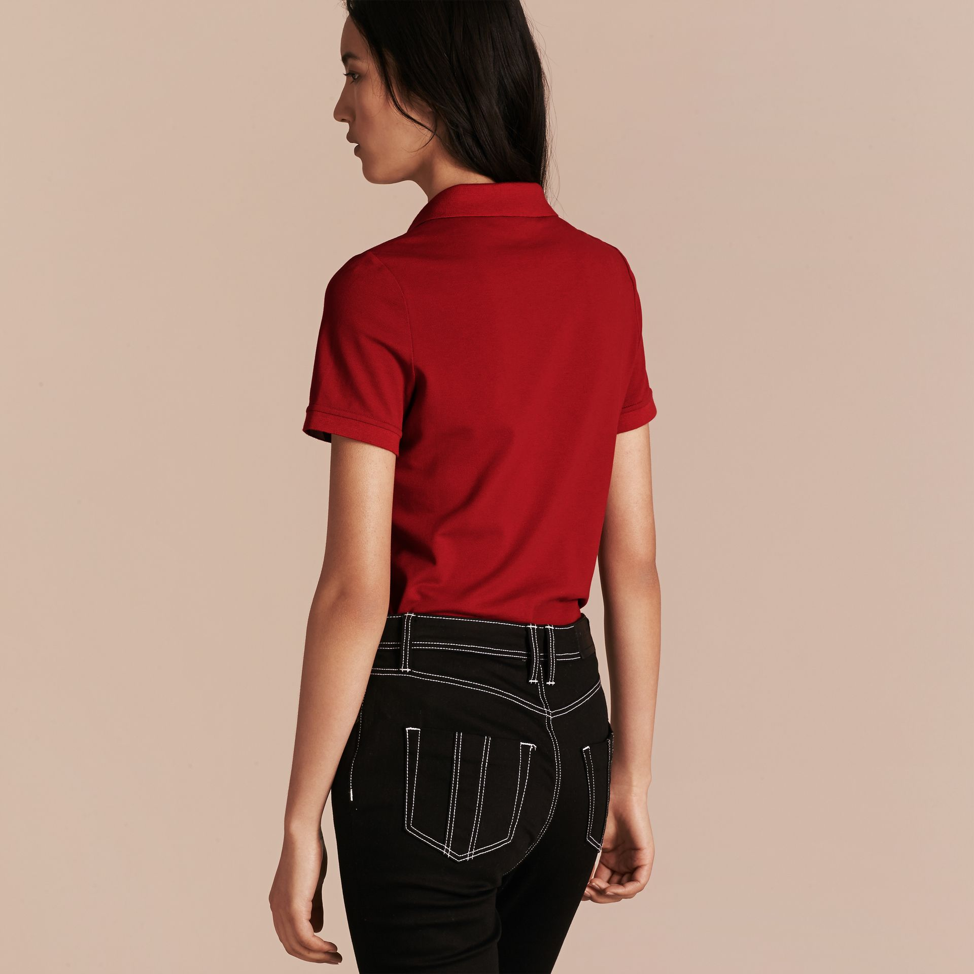 Check Trim Stretch Cotton Piqué Polo Shirt in Military Red - Women | Burberry Canada - gallery image 3