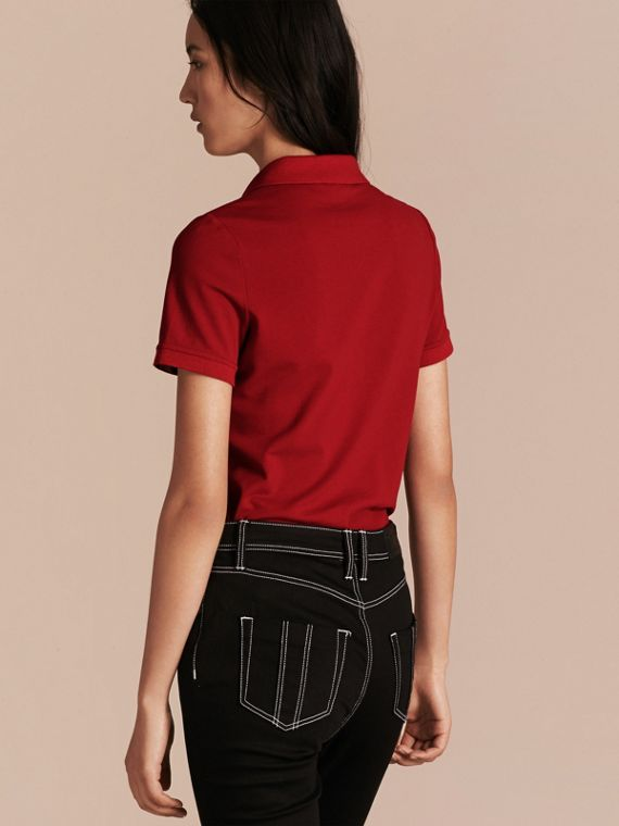 Check Trim Stretch Cotton Piqué Polo Shirt in Military Red - Women | Burberry Canada - cell image 2