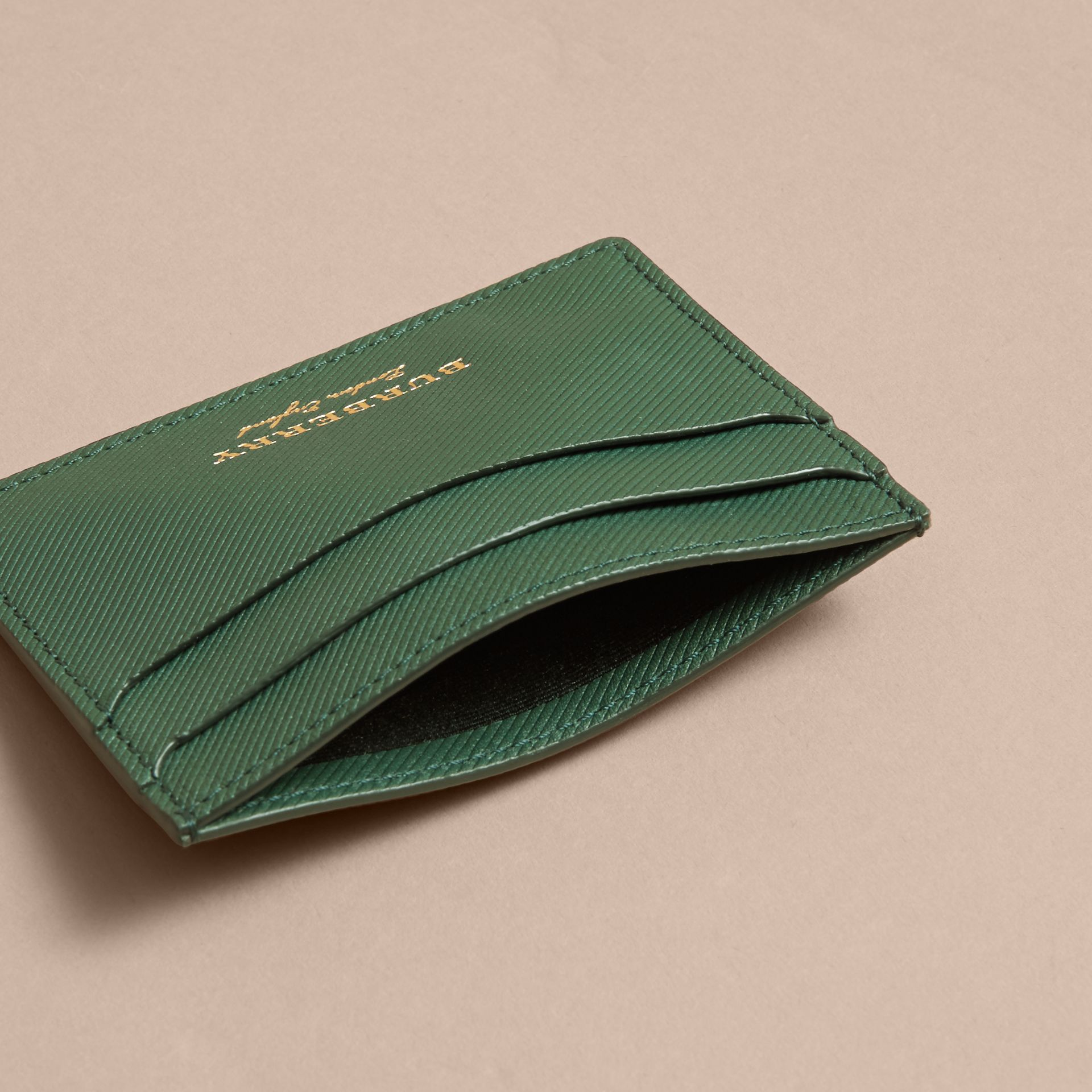 Trench Leather Card Case in Dark Forest Green | Burberry - gallery image 5