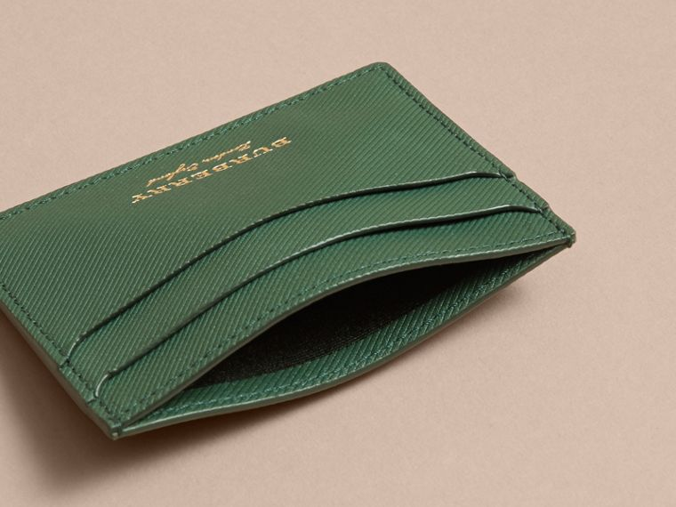 Trench Leather Card Case in Dark Forest Green | Burberry - cell image 4