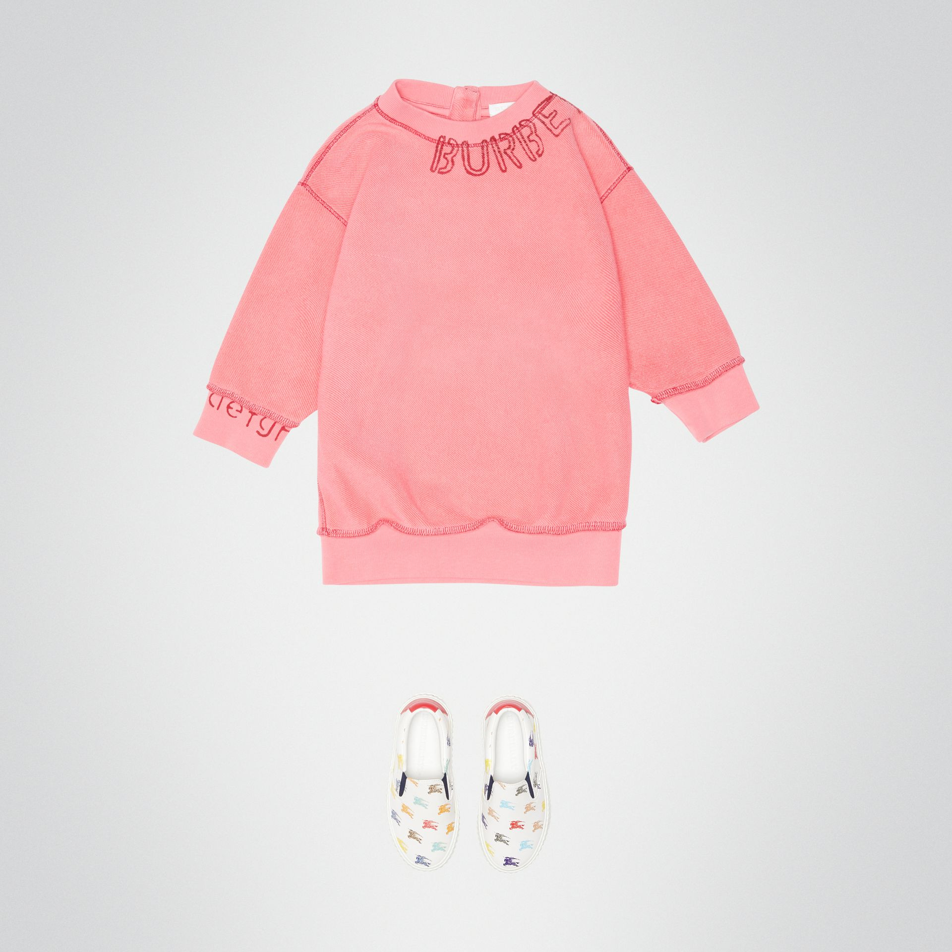 Stencil Logo Print Cotton Sweater Dress in Bright Pink - Children | Burberry - gallery image 2