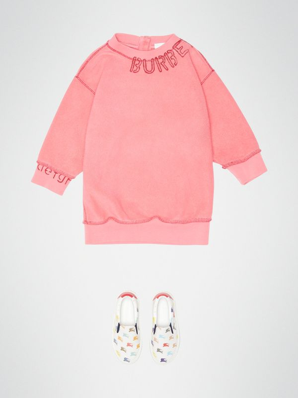 Stencil Logo Print Cotton Sweater Dress in Bright Pink - Children | Burberry - cell image 2