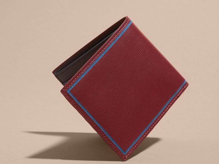 Border Detail London Leather Folding Wallet Burgundy Red - cell image 4