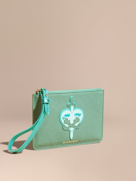 Longing Motif Grainy Leather Wristlet